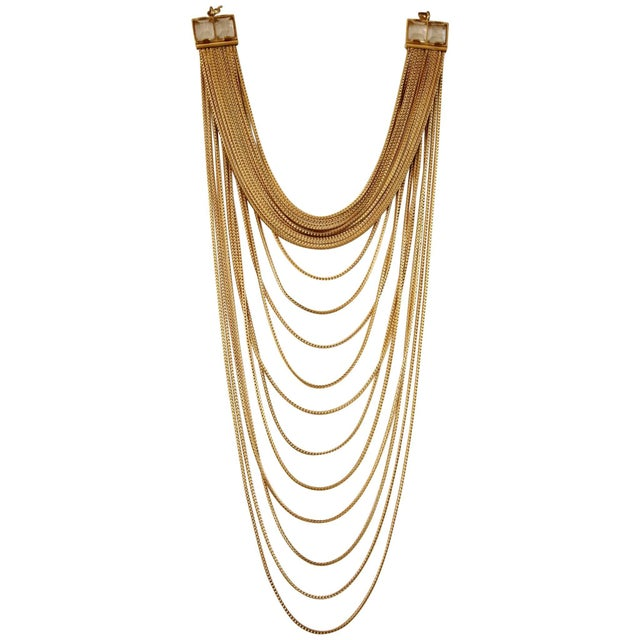 2010s Goossens Paris Origines Gilded Brass and Rock Crystal Multi Chain Necklace For Sale - Image 5 of 5