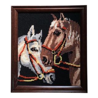 Vintage Horses Needlepoint, Framed For Sale