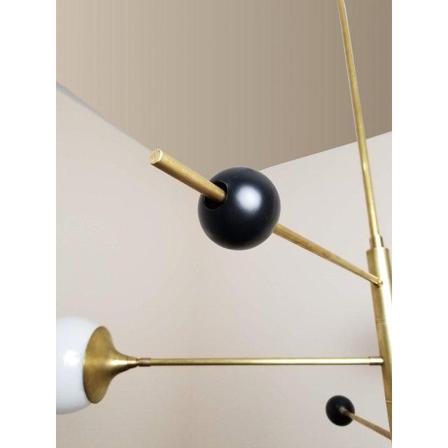 Italian Blueprint Lighting Orbital Black Enamel, Glass & Bronze Three-Arm Pendant For Sale - Image 3 of 8