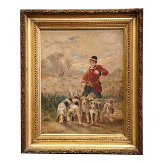 19th Century Oil on Canvas Hunt Painting in Gilt Frame Signed j.j. Veyrassat For Sale