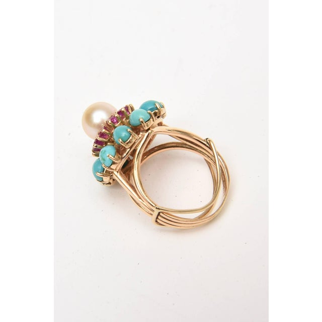 Modern Ruby, Pearl, Turquoise and 14 Karat Yellow Gold Dome Cocktail Ring For Sale - Image 3 of 8