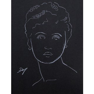 """""""Lady With Braids"""" White Charcoal Drawing by Sarah Myers For Sale"""