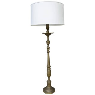 1940s French Turned Bronze Floor Lamp For Sale