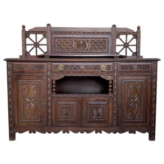 19th Spanish Carved Walnut Cupboard, Buffet With Crest For Sale