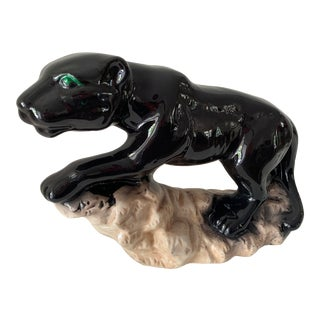 Vintage Black Panther on Rock Sculpture For Sale