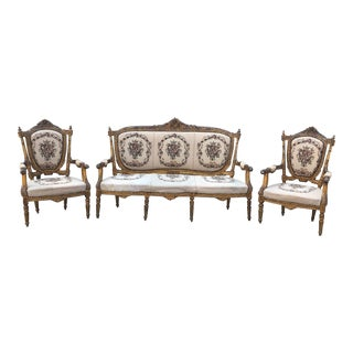 French Antique Gilded Sofa and Pair of Chairs For Sale
