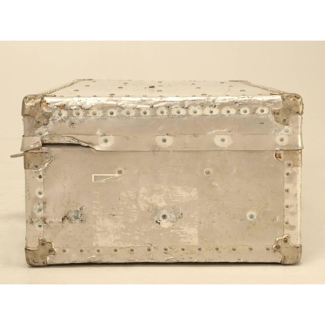 Fabric French Metal Trunk For Sale - Image 7 of 10