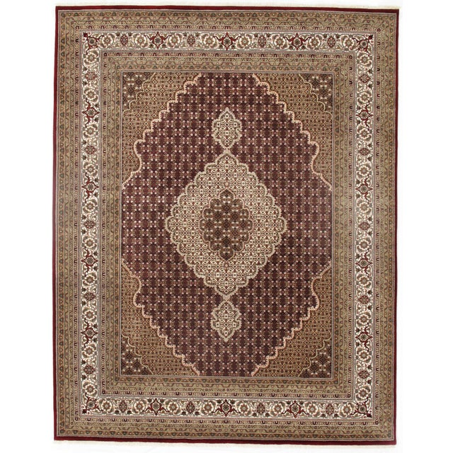 2010s Pasargad N Y Fine Tabriz Mahi Design Silk & Wool Rug - 8′1″ × 10′4″ For Sale - Image 5 of 5
