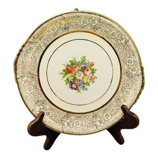 1950s Paden City Pottery Gold Filigree and Floral Cake Plate For Sale