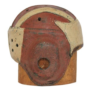 Antique American Football Leather Helmet With Hat Mold - A Pair For Sale