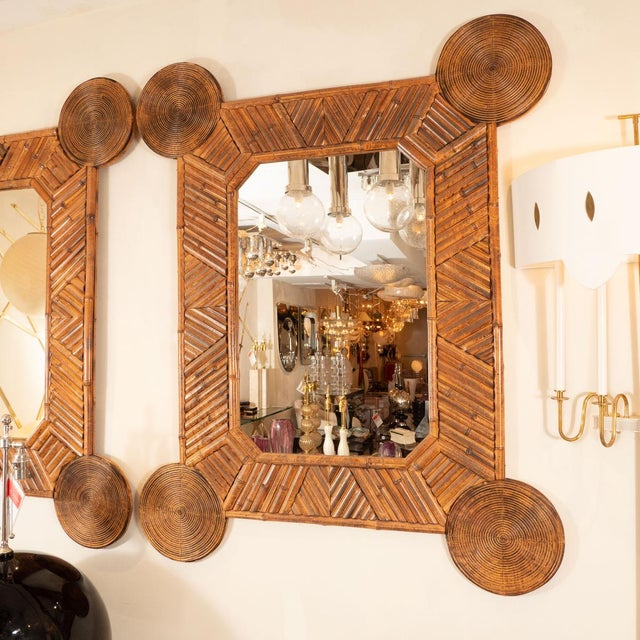 "Unusual mirror with intricate bamboo surround. Origin: Italy Circa: 1960 Dimensions: 42.5"" wide x 1.75"" deep x 52"" high..."