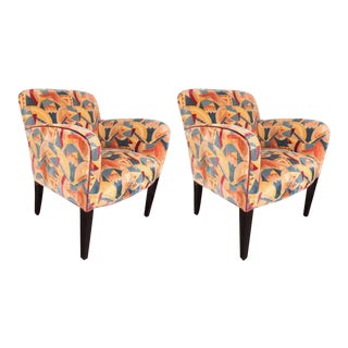 Pair of Donghia Armchairs in Vibrant Cubist Fabric by Clarence House For Sale