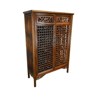Vintage Chinese Asian Hardwood Fretwork 2 Door Kitchen Vegetable Cabinet For Sale