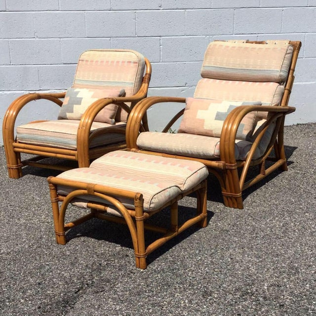 Bamboo 1960s Vintage Bamboo Rattan Lounger Chair & Ottoman Set- 3 Pieces For Sale - Image 7 of 7