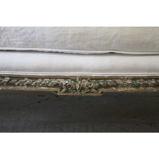 Bronze 19th Century Louis XVI Style French Settee Upholstered in Antique Grain Sack For Sale - Image 7 of 13