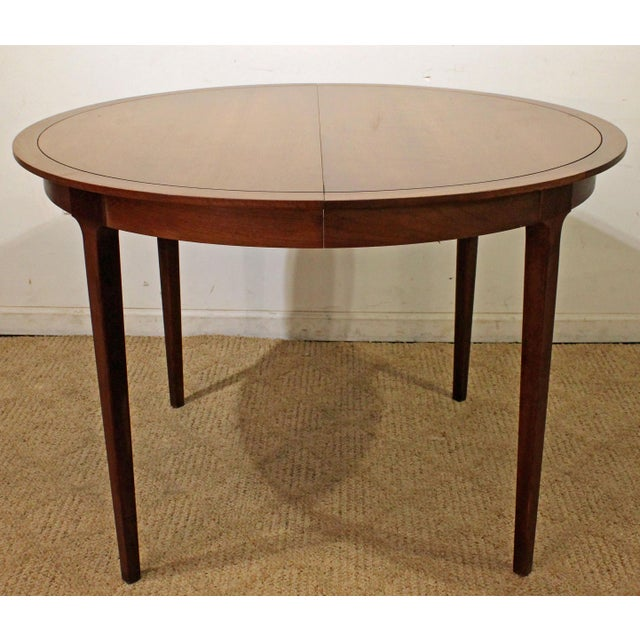 Mid-Century Modern Drexel Counterpoint Round Extension Walnut Dining Table #14 For Sale - Image 13 of 13