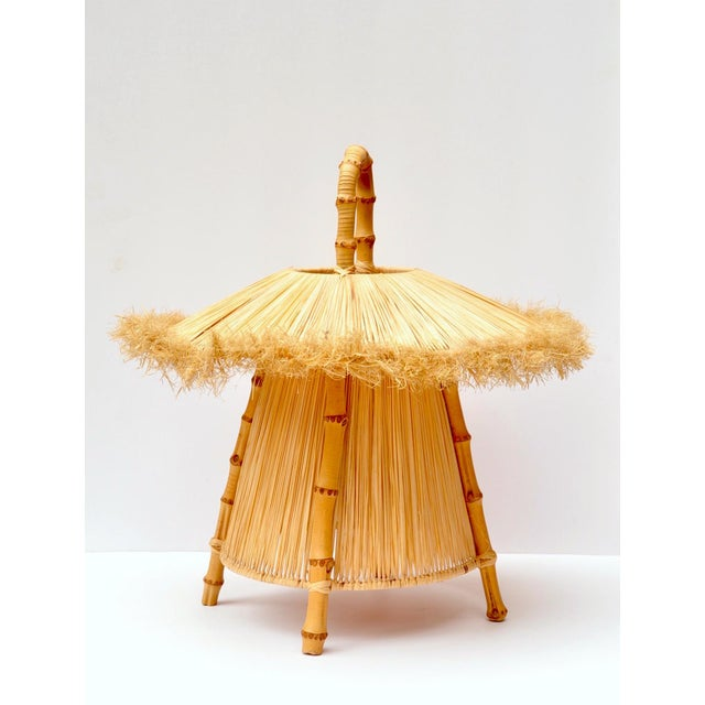 Bamboo and Straw Hanging Lantern For Sale In New York - Image 6 of 7