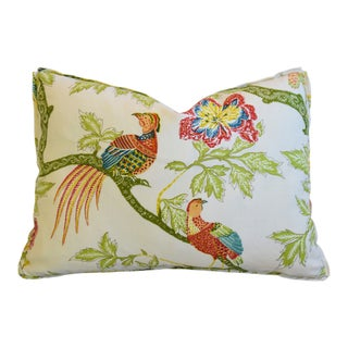 "Schumacher Chinoiserie Linen Floral & Bird Feather/Down Lumbar Pillow 22"" X 16"" For Sale"