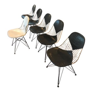 Eames Herman Miller Eiffel Black Leather Bikini Chairs - Set of 6 For Sale
