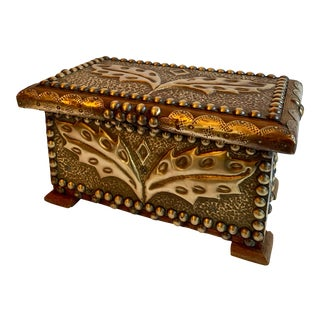 Folk Art Handmade Brass Box For Sale