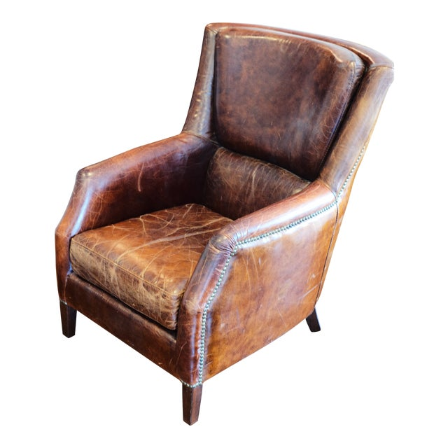 Vintage Shabby Chic Leather Chair For Sale