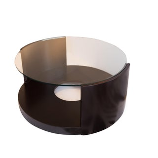 Modern Round Glass-Topped Coffee Table For Sale