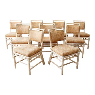 Set of Nine McGuire Cerused Rattan Dining Chairs For Sale