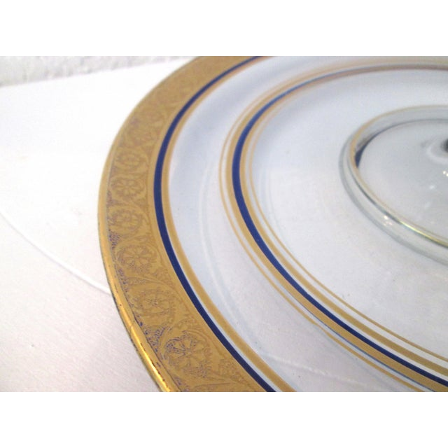 Vintage Gold & Navy Blue Glass Tidbit Plate - Image 4 of 5