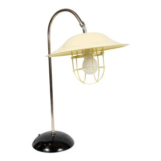 French Mid-Century Modern Chrome and Lemon Cream and Black Enamel Table Lamp For Sale