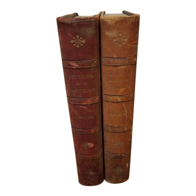 2 Matching Leather Spine Books For Sale