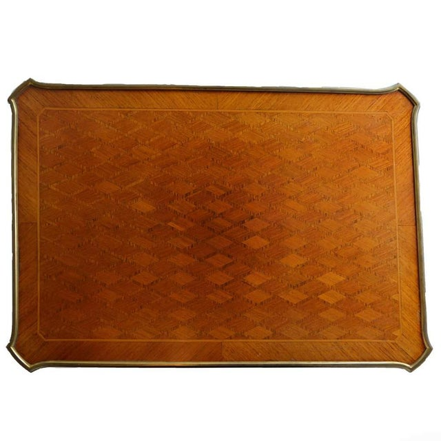 Antique Gilt Bronze Parquetry Inlaid Occasional Table Louis XVI Style For Sale In Columbus - Image 6 of 7