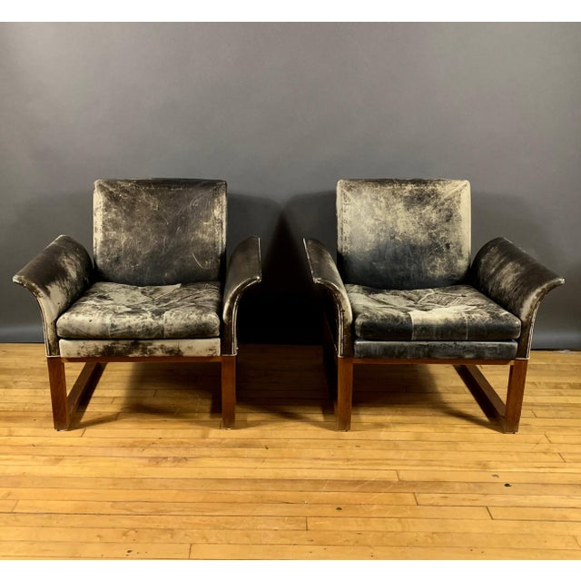 1960s Pair of Danish 1960s Faded Black Leather Lounge Chairs For Sale - Image 5 of 13