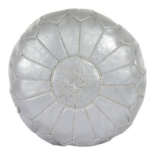 Modern Moroccan Dark Gray Pouf For Sale