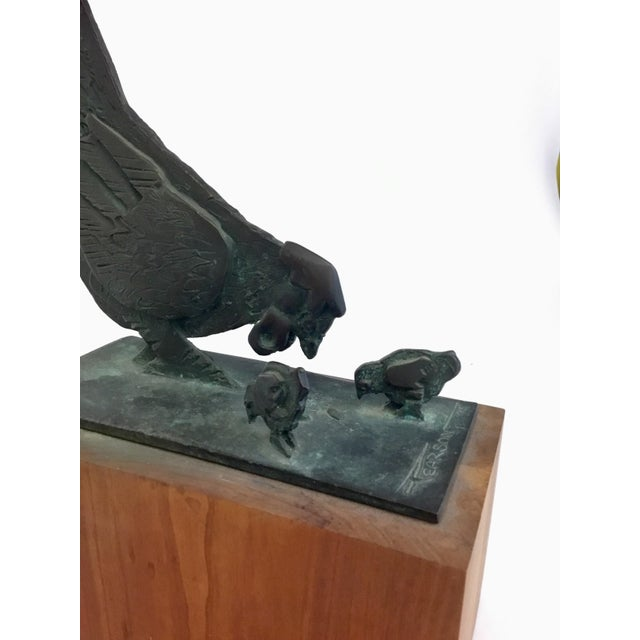 Metal Bronze Sculpture of Chicken and Chicks James Pearson For Sale - Image 7 of 9