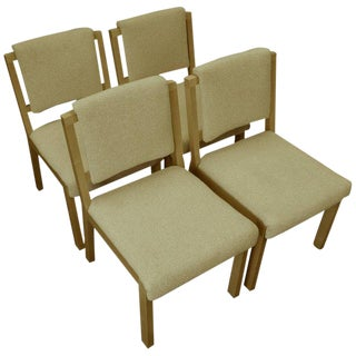 Midcentury Dining Chairs With Maple Frames and Wool Upholstery, Set of Four For Sale
