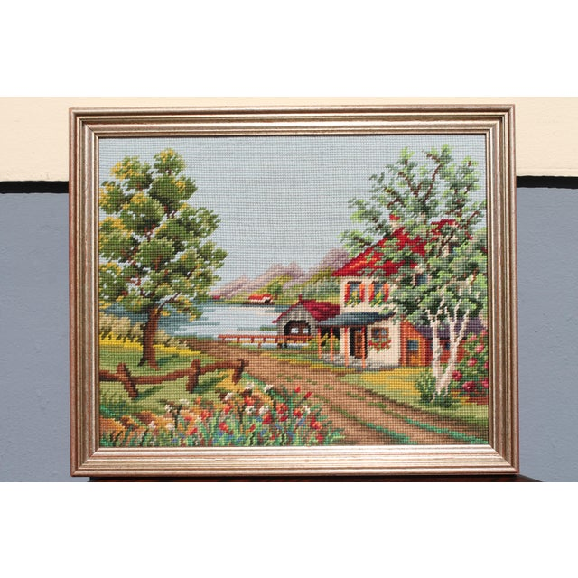 Vintage Framed Country Home Needlepoint For Sale - Image 10 of 10