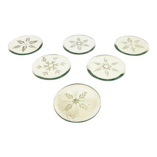 Vintage Etched Mirror Coasters - Set of 6 For Sale