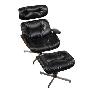 1960s Vintage Plycraft Chair and Ottoman For Sale