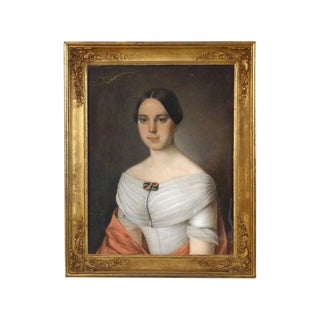 "19th Century American ""Portrait of a Woman Wearing a Brooch"" Pastel on Canvas For Sale"