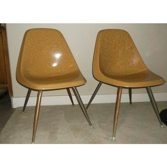 Set of 2 Vintage Borg-Warner fiberglass chair circa 1960. The bottom of the chair reads: PAT. PEND. FIBERMOLD CORP....