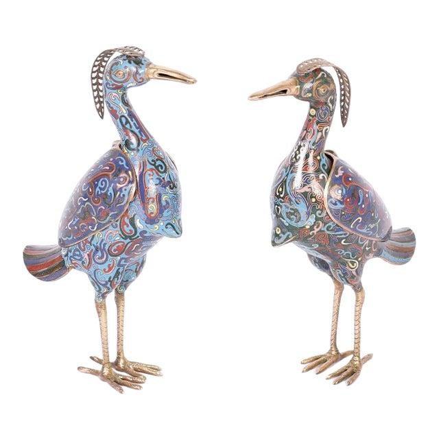 1960s Chinese Cloisonné Bird Sculptures - a Pair For Sale