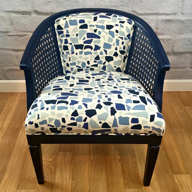 Navy Barrel Chair - Image 2 of 5