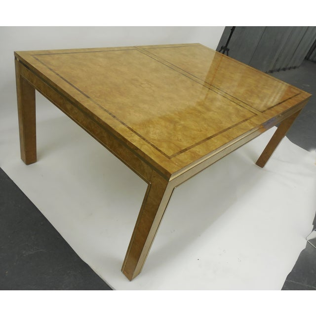 Mid-Century Modern Mastercraft Burlwood & Brass Parsons Dining Table For Sale - Image 3 of 7
