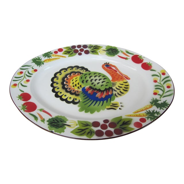 Vintage Enamelware Turkey Platter For Sale