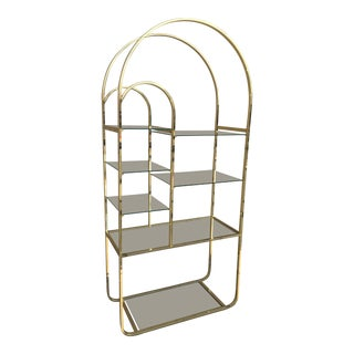 Mid-Century Brass & Tiered Glass Arched Étagère by Milo Baughman For Sale