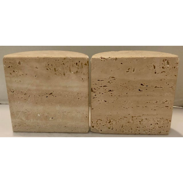 Cool pair of Italian travertine stone bookends. Original stickers on bottom. Dimension below are for each one.