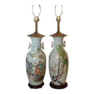 Near Pair of Enormous Chinese Vases Mounted as Lamps For Sale