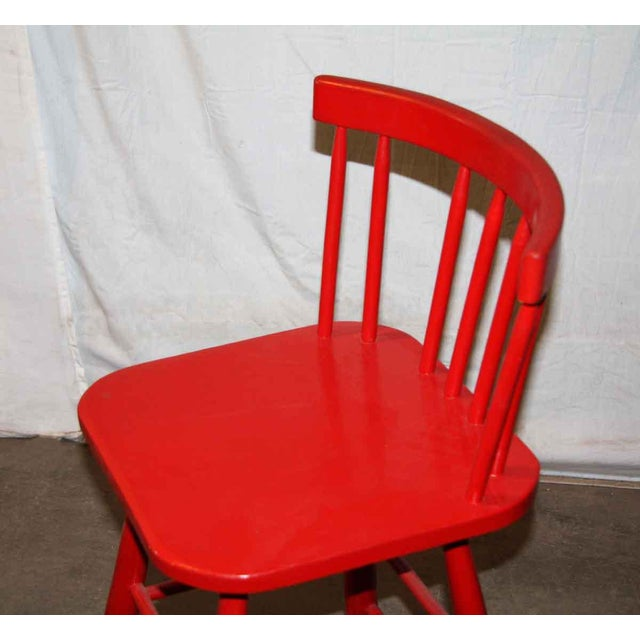 Mid-Century Red Bar Stools - A Pair - Image 4 of 4