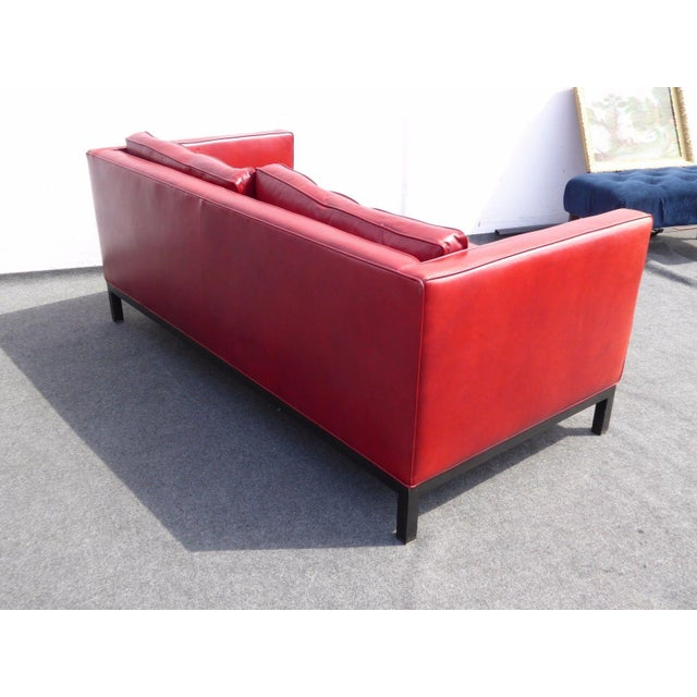 Designer Contemporary Red Leather Sofa - Image 7 of 11