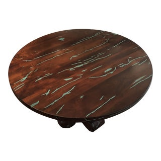 """Southwest Custom 48"""" Mesquite and Turquoise Inlay Round Dining Table For Sale"""
